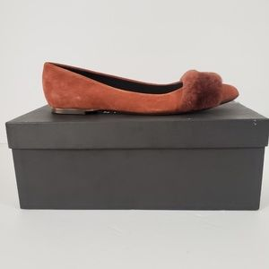 Barneys New York Suede Leather Pointy Toe Flats